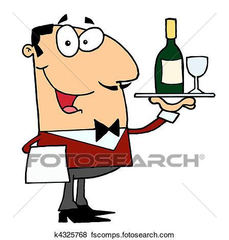 448x470 Clip Art Of Caucasian Male Butler Serving Wine K4325768
