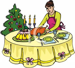 300x273 Woman Setting Christmas Dinner On A Dining Table