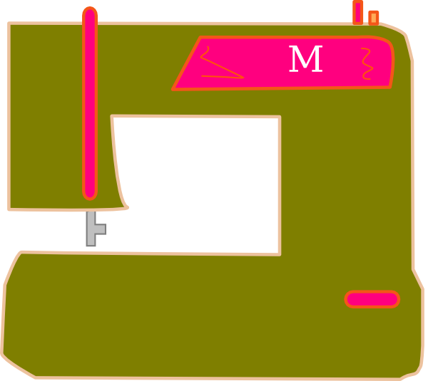 600x535 Olive And Pink Sewing Machine Clip Art