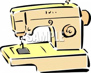 300x242 Yellow Sewing Machine Clipart Image