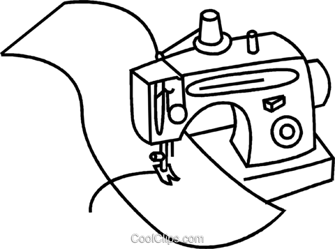 480x357 Sewing Machine With Material Royalty Free Vector Clip Art