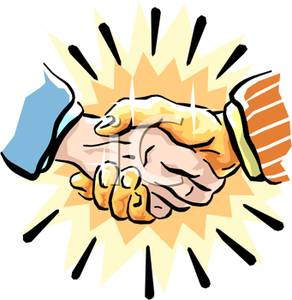 292x300 Man Shaking Hands With A Golden Hand Clip Art Image