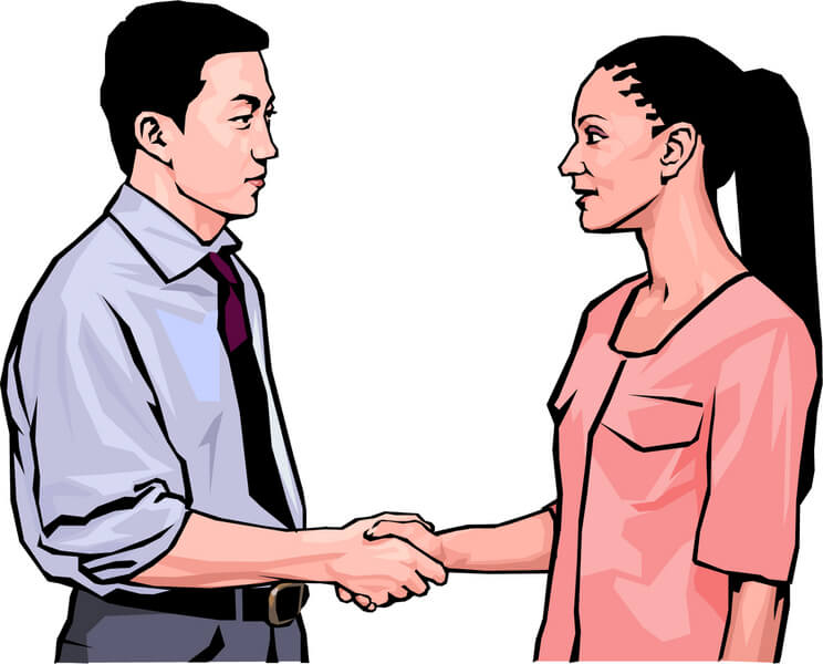 744x600 Man And Woman Shake Hands Clipart