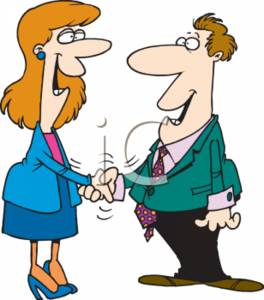 264x300 Clipart Of A Happy Businesswoman And Businessman Shaking Hands