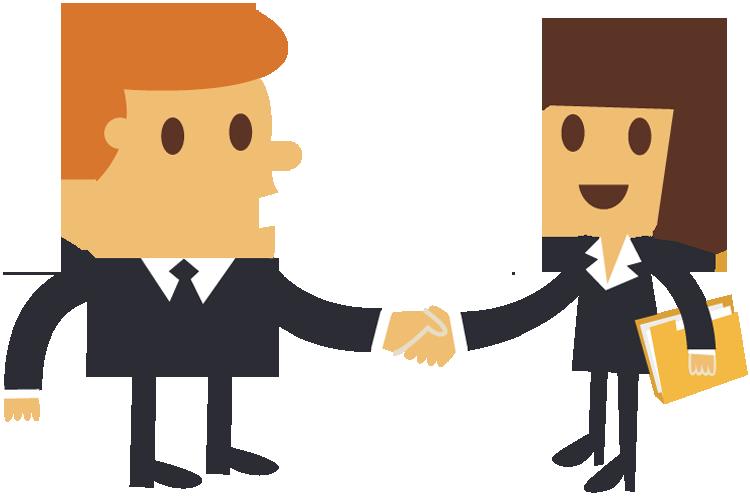 750x500 Cartoon Businessman Shaking Hands With A Businesswoman 1designshop