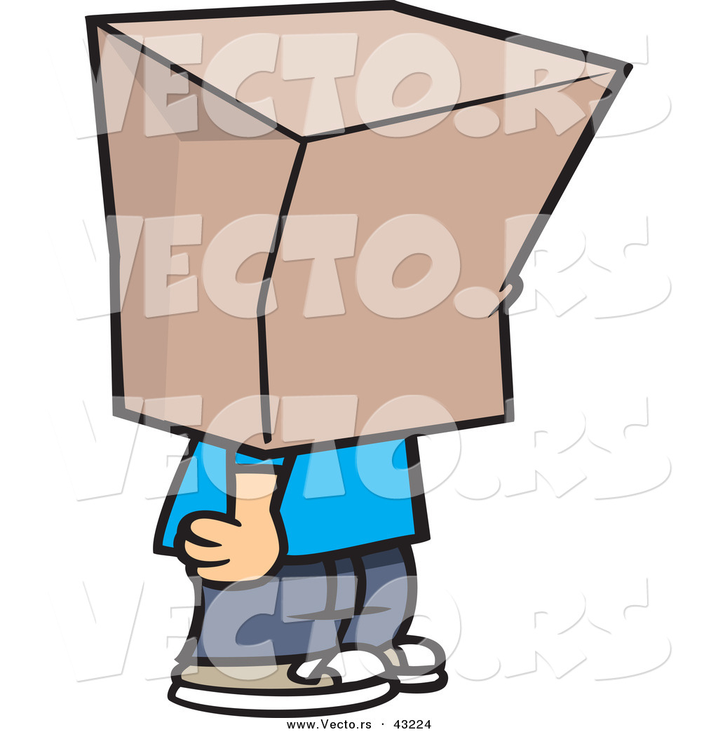 1024x1044 shame clipart vector of a cartoon boy standing with a bag over his