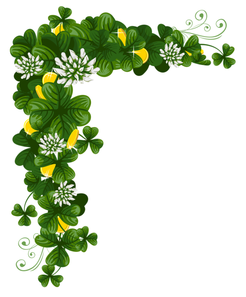 497x600 patrick#39s day png St Patricks Day Shamrocks with Coins PNG