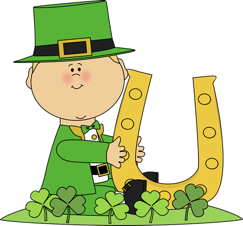 500x465 Boy In Shamrock Patch With Horseshoe Clip Art
