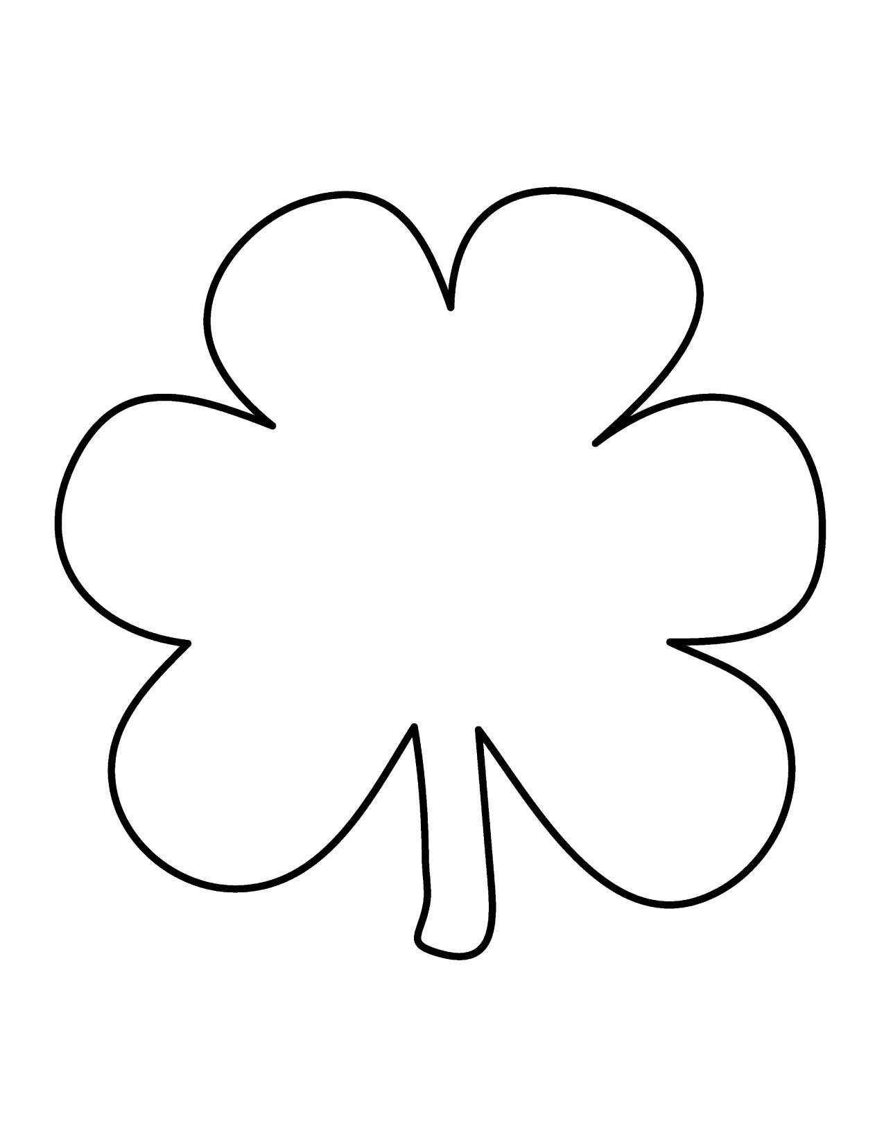 1275x1650 Shamrock Clipart Black And White