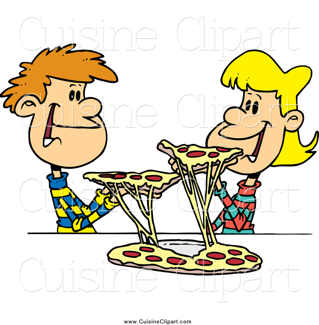 1024x1044 Cuisine Clipart Of A Young Couple Sharing Pizza By Toonaday