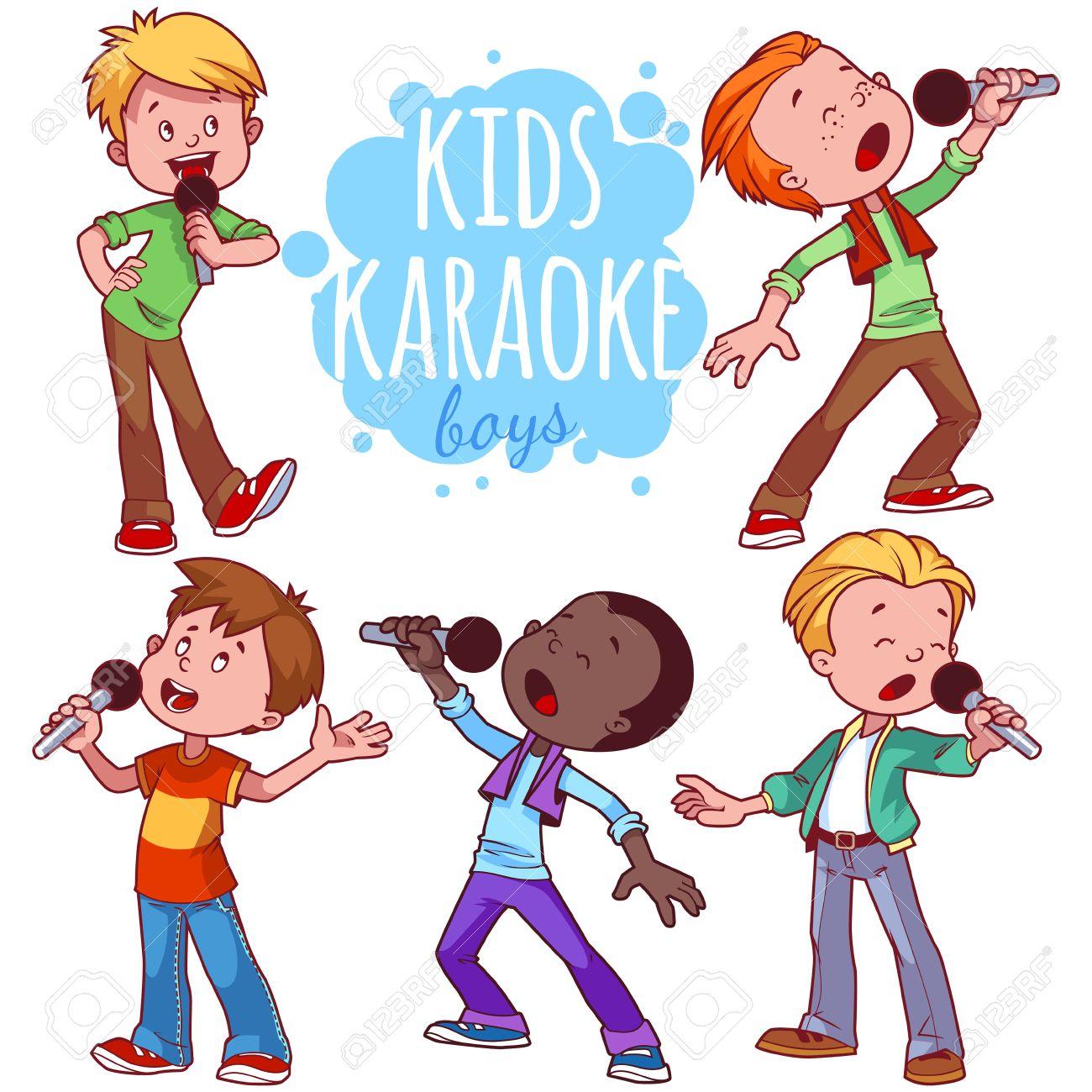 1300x1300 Cartoon Children Sing With A Microphone. Vector Clip Art