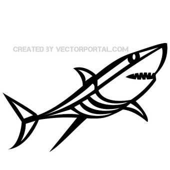 Shark Black And White Clipart