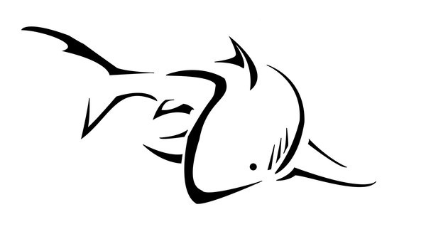 600x343 Staggering Shark Outline 55 Shape Templates Crafts Colouring Pages