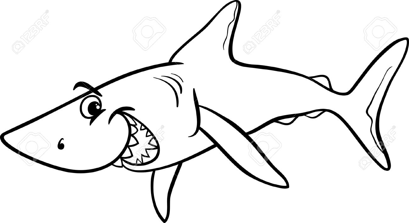 1300x709 Black And White Cartoon Illustration Of Shark Fish Sea Life Animal