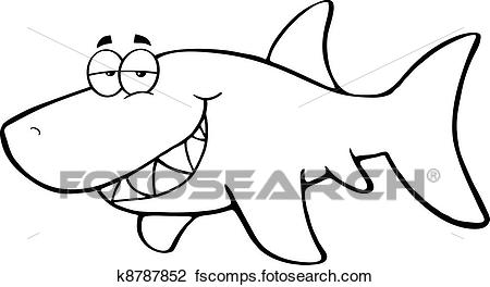450x264 Clipart Of Outlined Happy Shark K8787852