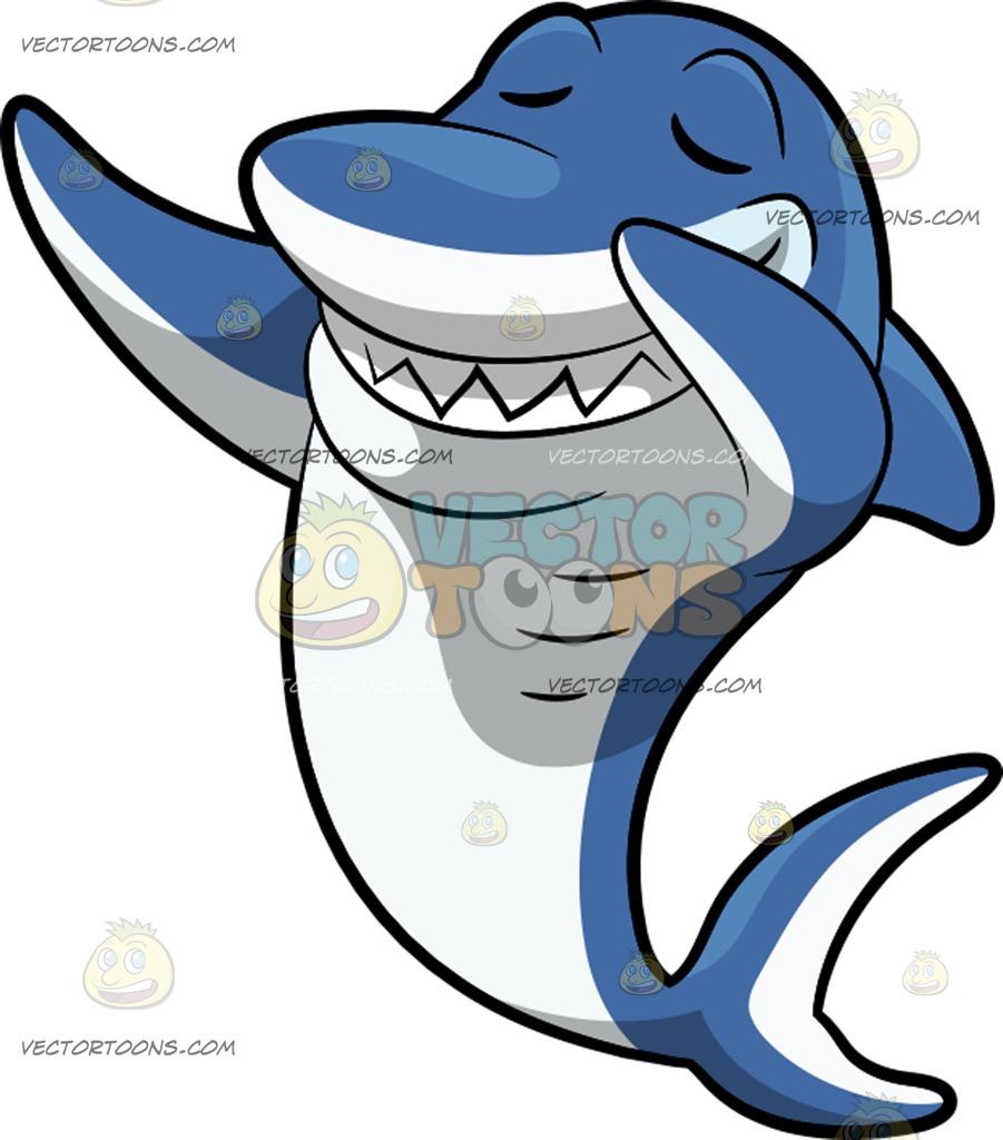 901x1024 A Dabbing Shark Cartoon Clipart