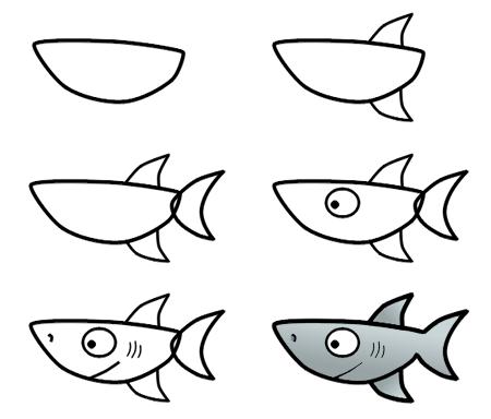 450x384 Drawing A Cartoon Shark