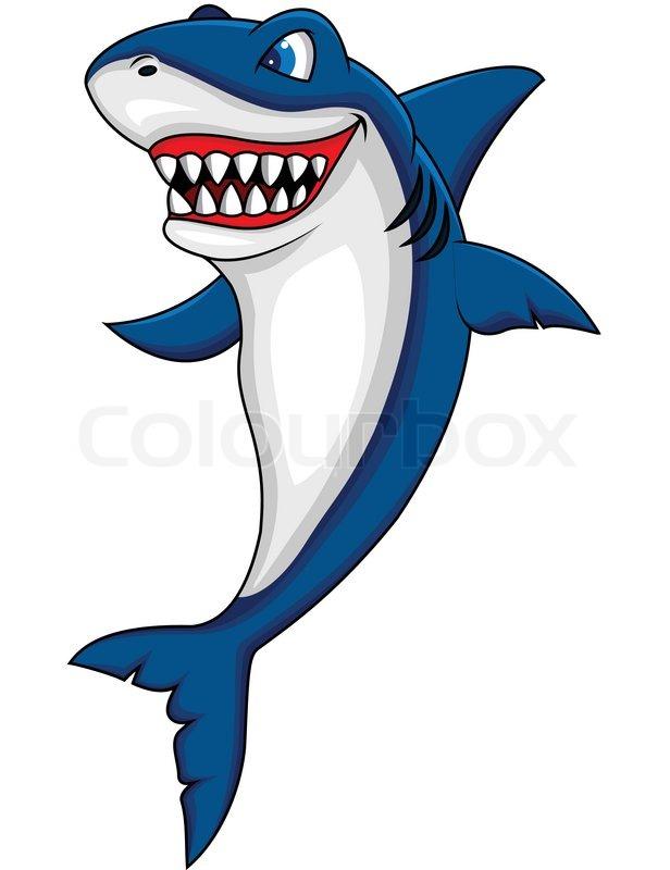 616x800 Happy Shark Cartoon Stock Vector Colourbox