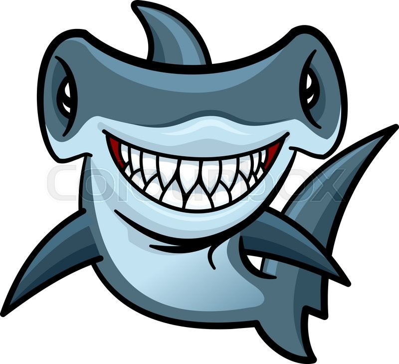800x729 Happy voracious cartoon hammerhead shark with charming smile of