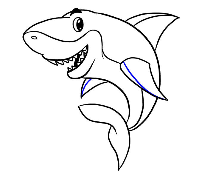 678x600 How To Draw A Cartoon Shark Easy Step By Step Drawing Guides