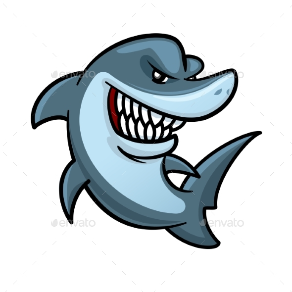 590x590 Hungry Shark With Toothy Smile Cartoon Character By Seamartini