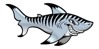 400x200 Shark Clipart Great White Shark Cartoon Style 2