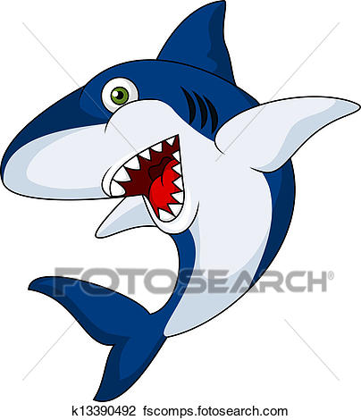 404x470 Clip Art of funny shark cartoon k8639357