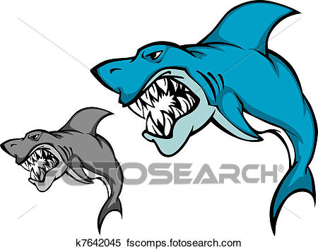 450x354 Clipart of Danger shark with sharp tooth k7642045
