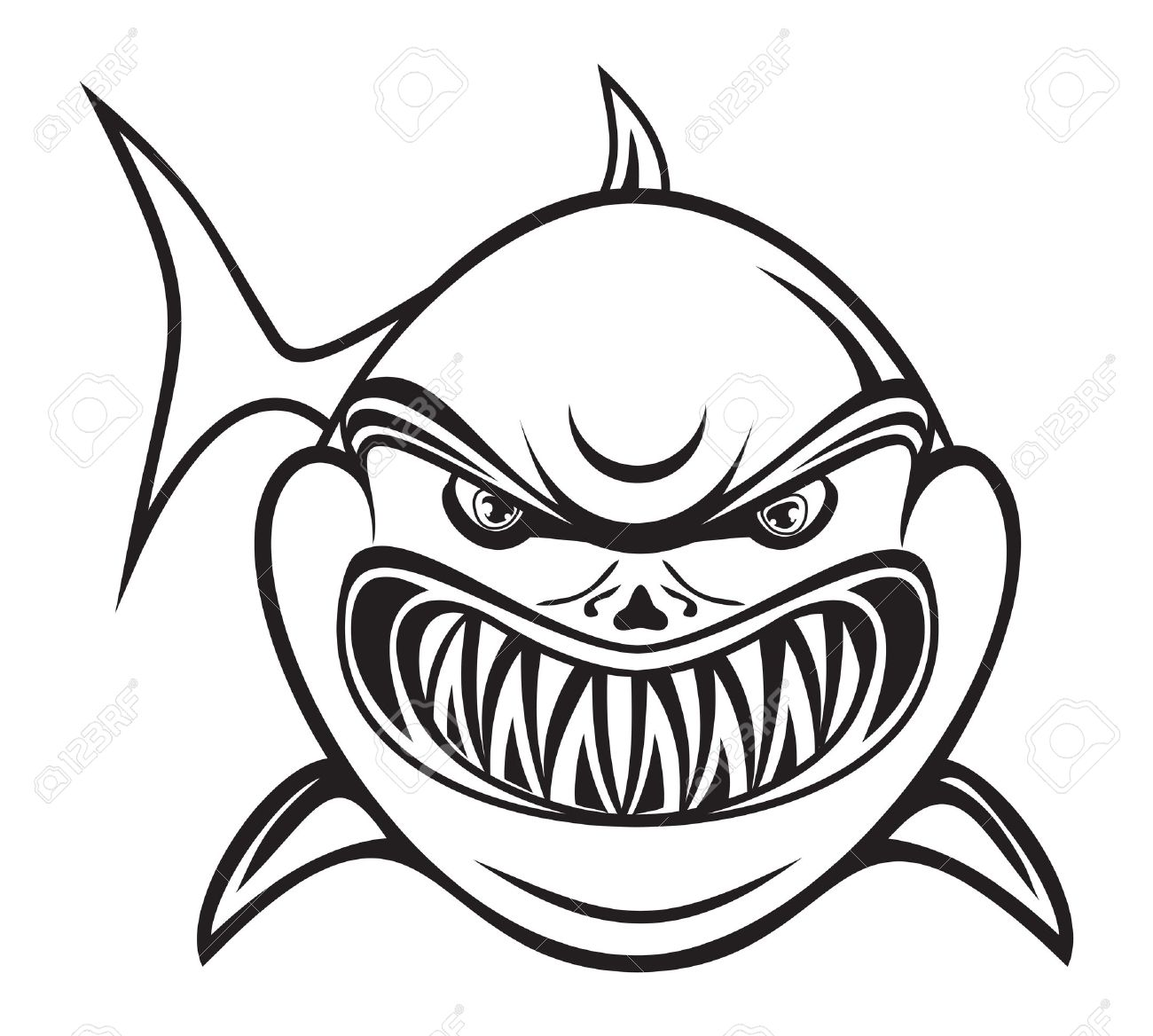 1300x1168 Angry Shark Black White Royalty Free Cliparts, Vectors,