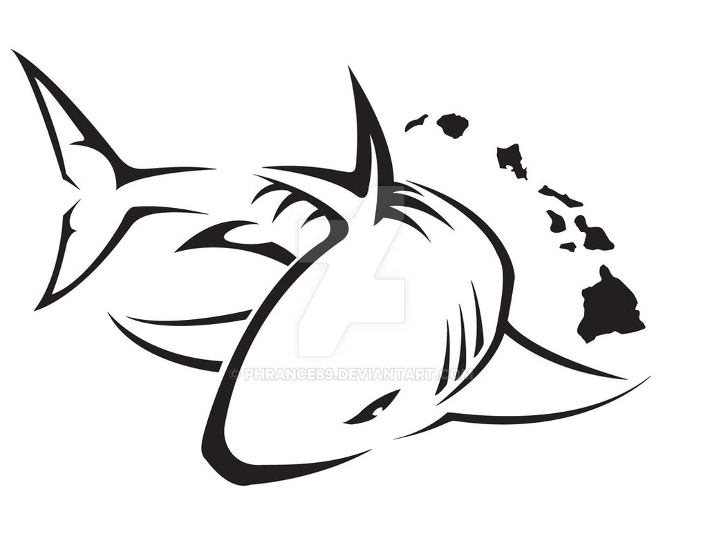 1017x786 Black Outline Shark Tattoo Design