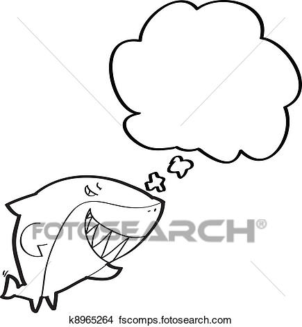 435x470 Clipart Of Shark With Speech Bubble Cartoon K8965264