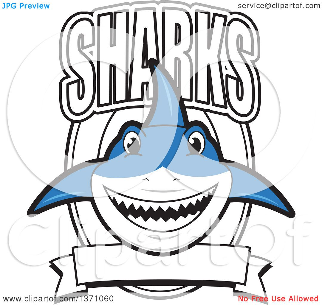 1080x1024 Clipart Of A Shark School Mascot Character With Text Over A Blank