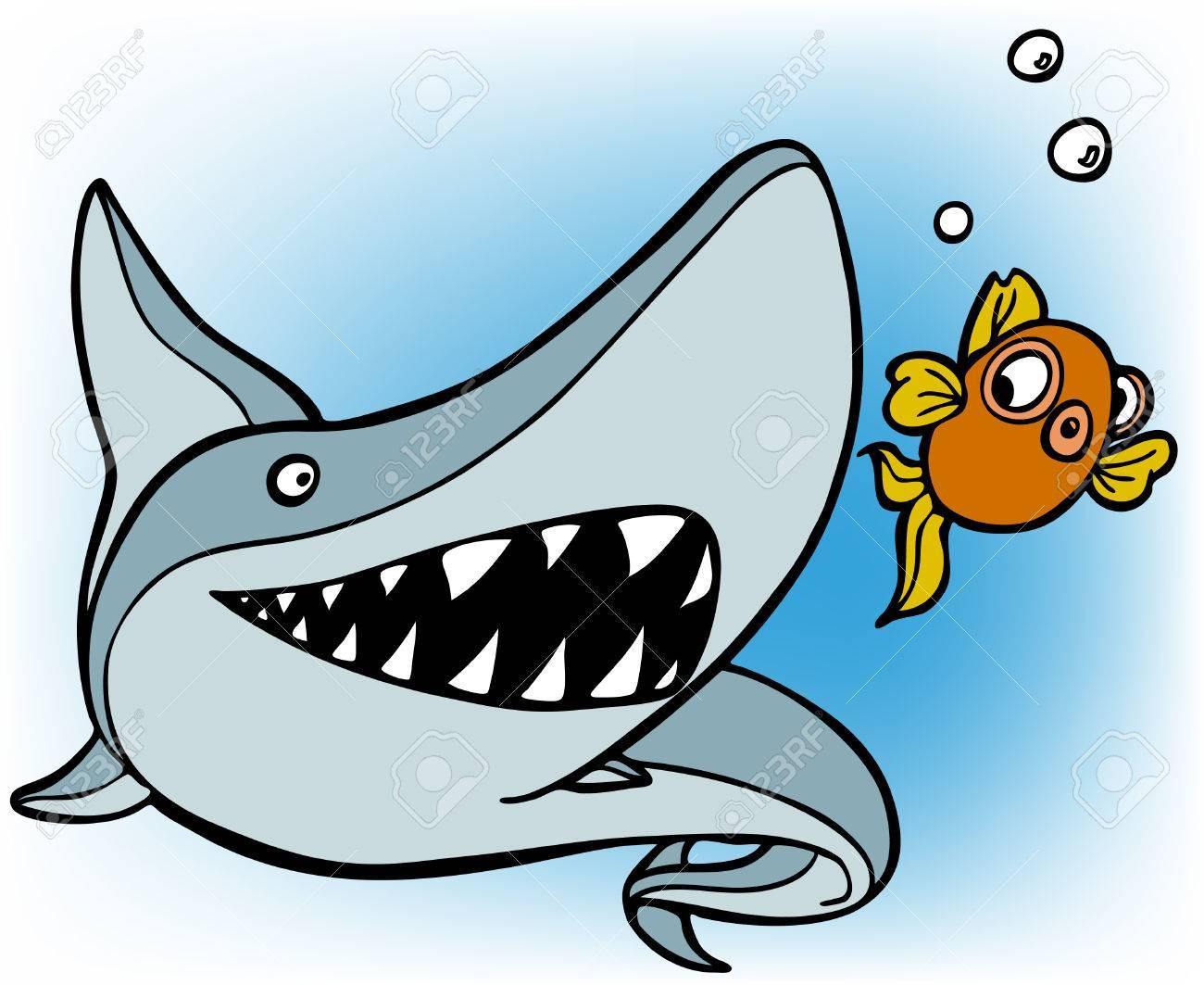 1300x1063 Shark Chasing Goldfish Royalty Free Cliparts, Vectors, And Stock