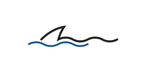500x250 Shark Fin Wonderful Water Logo Inspiration Logos Sharks