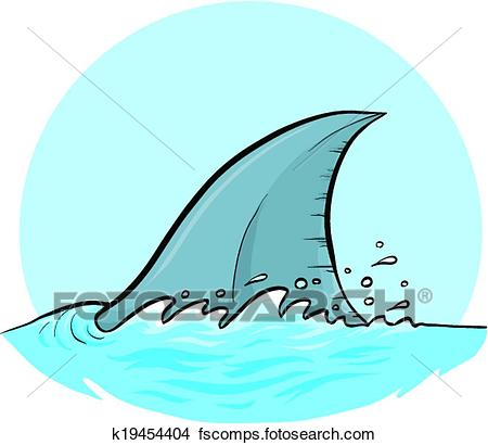 450x410 Clipart Of Shark Dorsal Fin K19454404