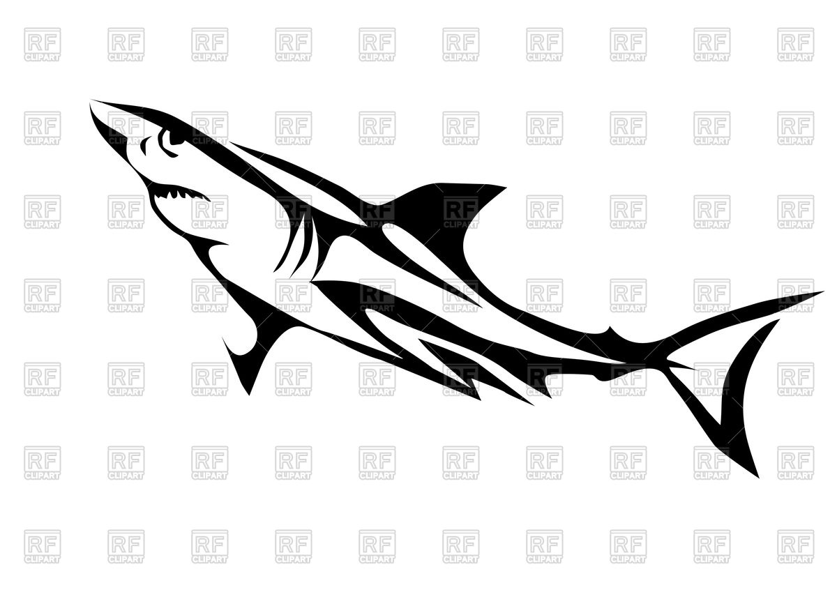 1200x849 Great White Shark Outline Royalty Free Vector Clip Art Image