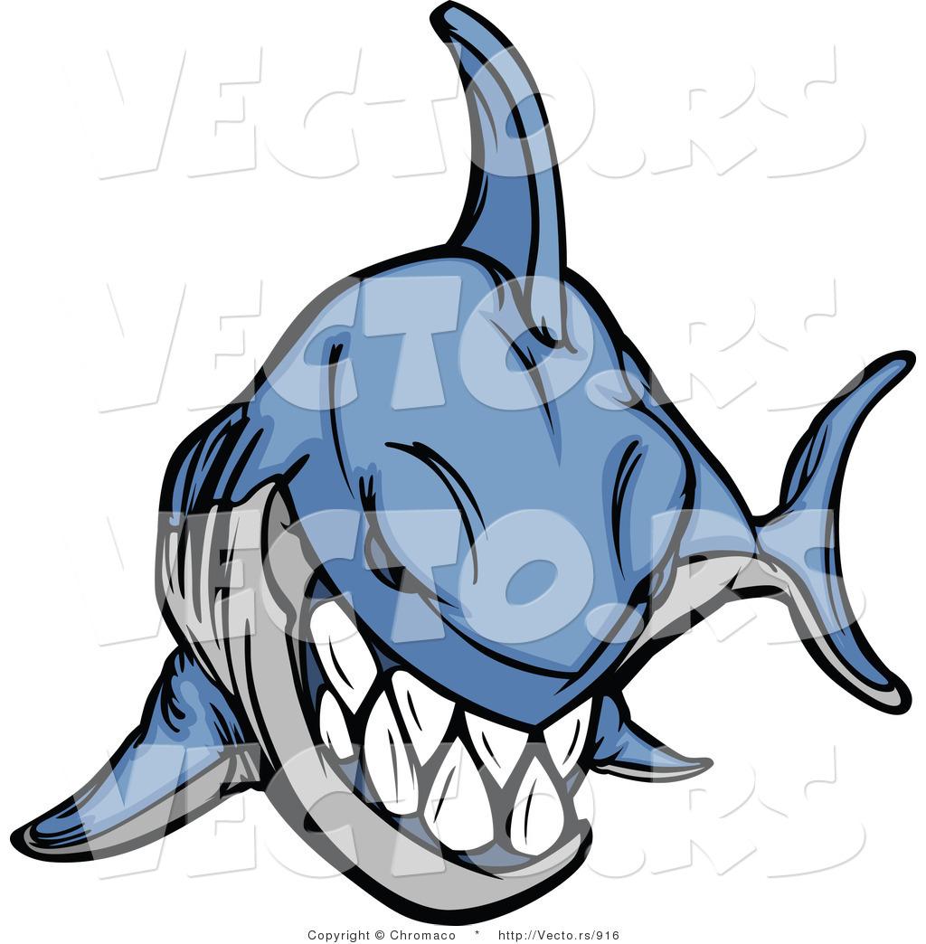 1024x1044 Cartoon Vector Of An Evil Blue Shark Grinning By Chromaco