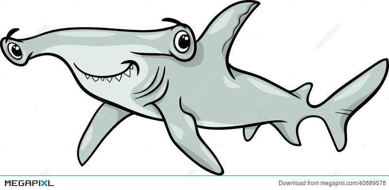 800x392 Hammerhead Shark Cartoon Illustration Illustration 40889578