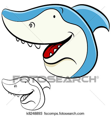 450x470 Clipart Of Shark Face K8248893