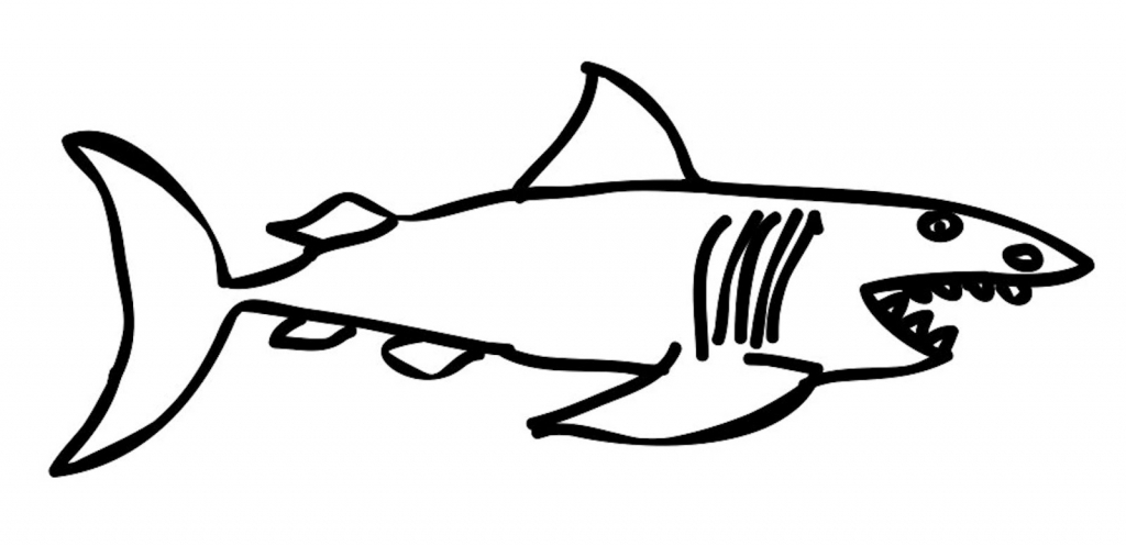 1024x497 Simple Shark Drawing Shark Drawing Images Clipart Free To Use Clip