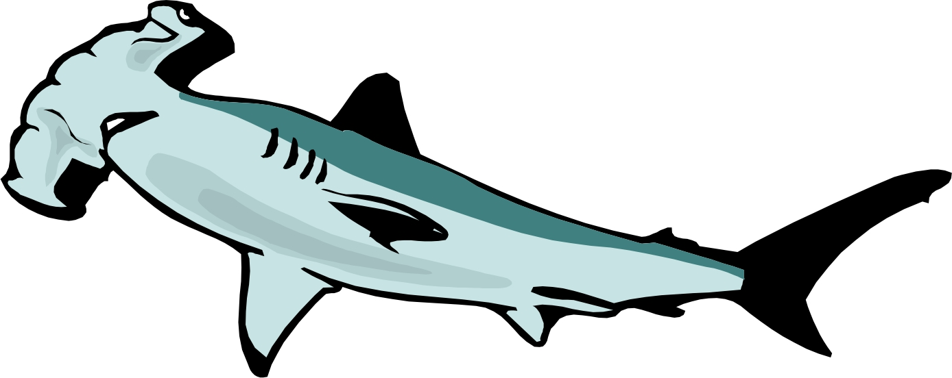 1388x552 Outline Hammerhead Shark Clipart