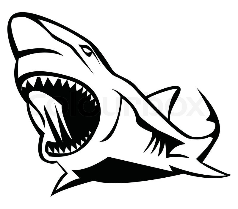 800x700 Vicious Outline Shark Tattoo Design