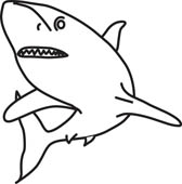 168x170 Shark 06 Outline. Shark Clipart Panda