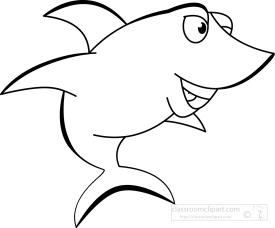 550x456 Animals Clipart Smiling Shark Black White Outline