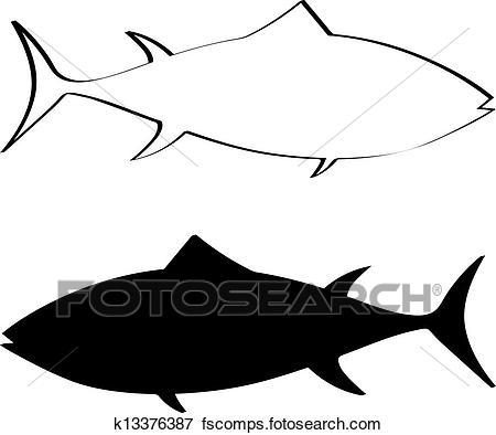 450x394 Clip Art Of Tuna Fish Silhouette K13376387