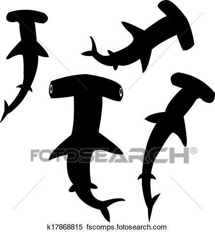 435x470 Clipart Of Hammerhead Shark Silhouettes K17868815