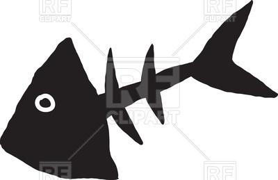 400x259 Drawn Skeleton Of Fish Royalty Free Vector Clip Art Image