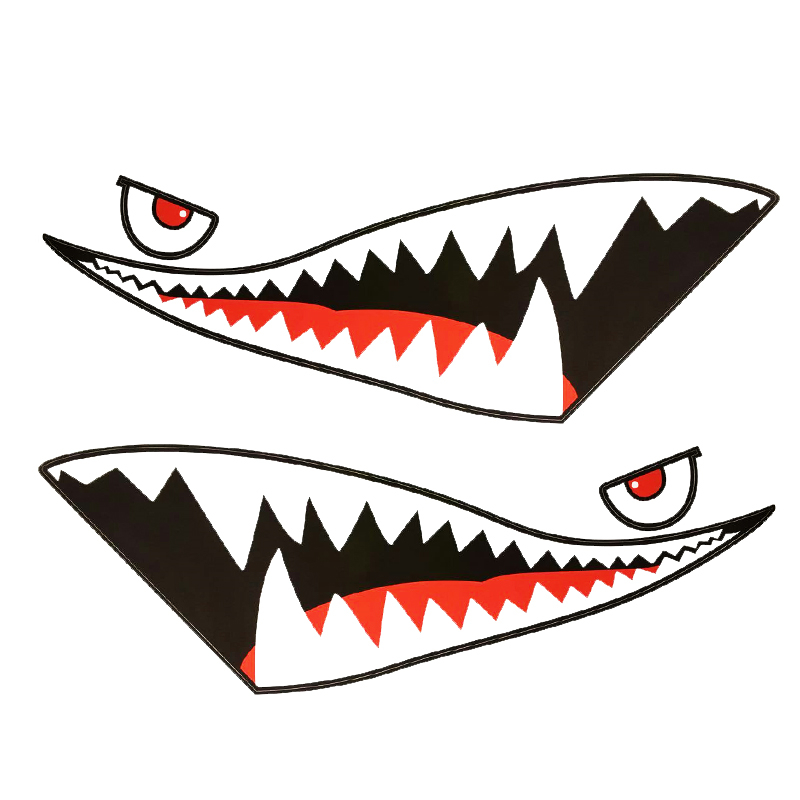 800x800 Shark Mouth Tooth Teeth Reflective Sticker Red Tongue Black Mouth