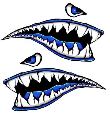 370x380 World War Fighter Tiger Shark Teeth Blue Gel Side Body Kit