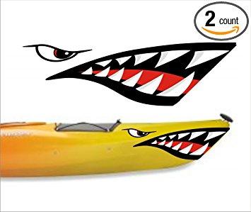 355x299 Shark Teeth Mouth Decal Stickers Kayak Canoe Jet Ski